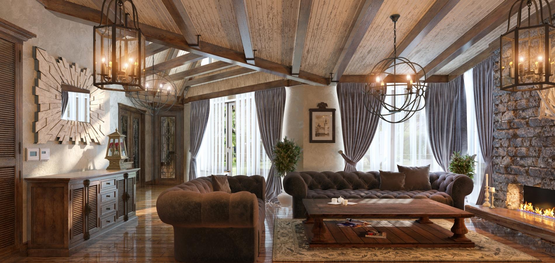 Летний домик, украшенный деревом