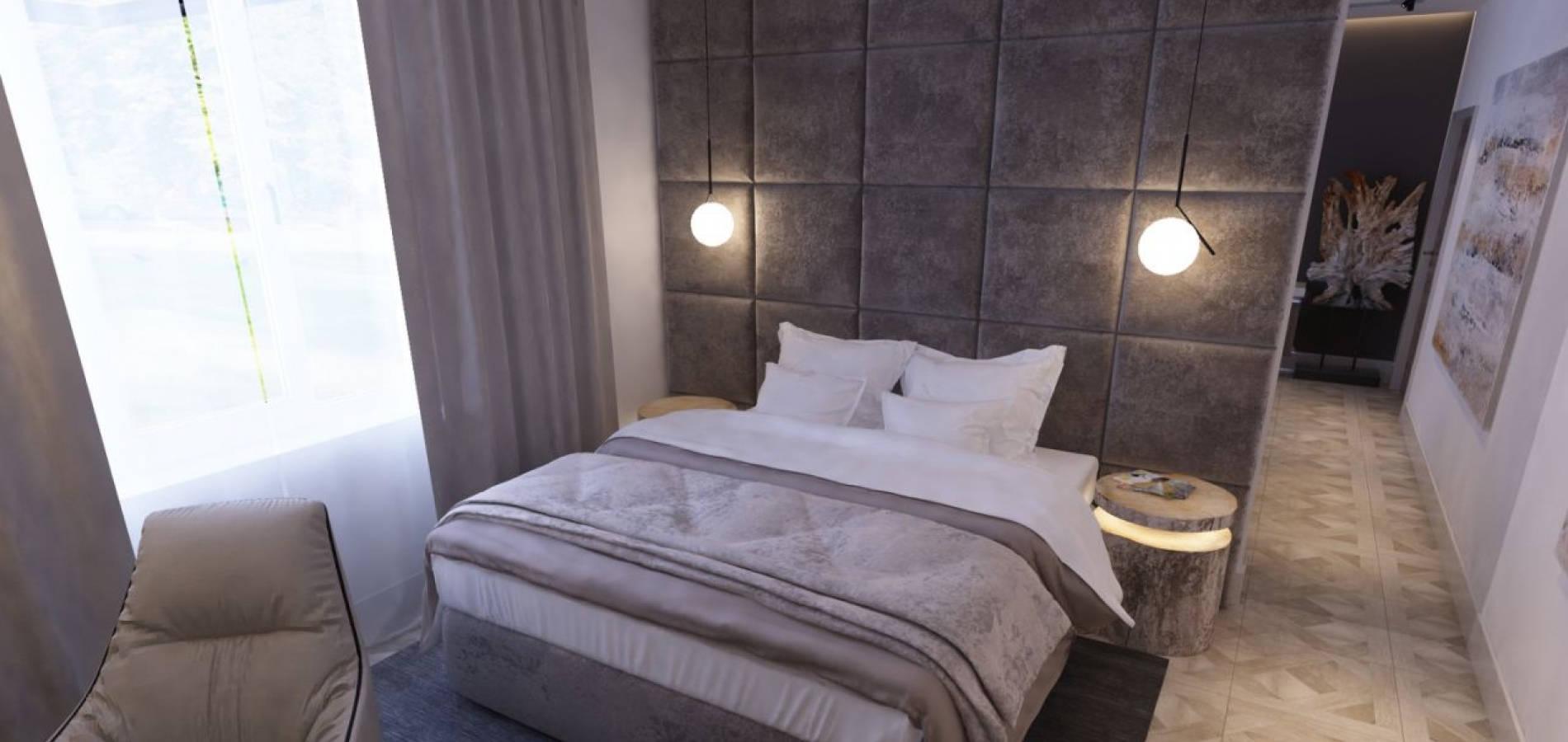 Спальня з м'якою перегородкою та меблями SM_303