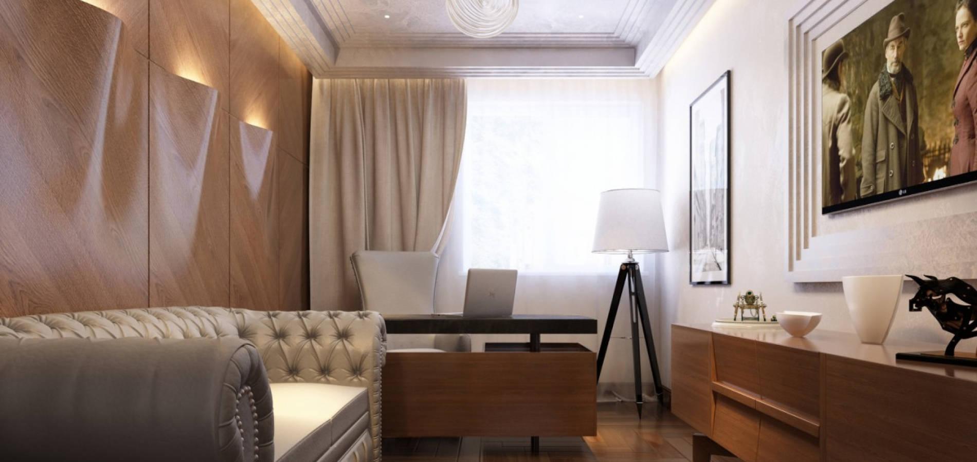 Кабінет в стилі модерн з дерев'яними фасадами OMD_206