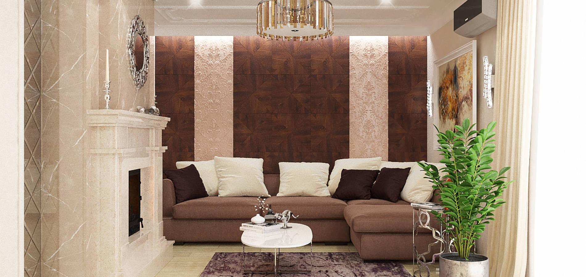 Вітальня з каміном в класичному стилі GK_102