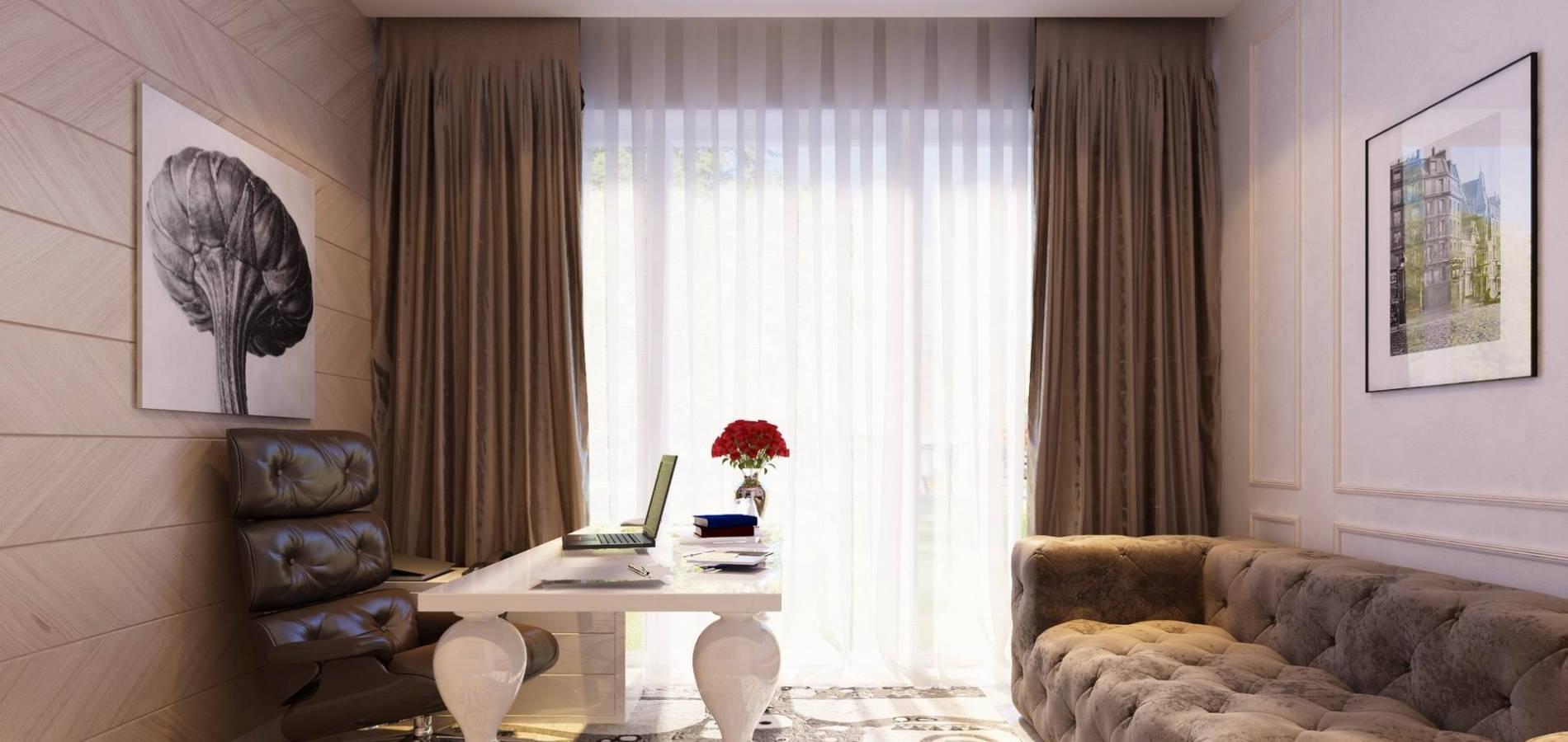 Кабінет з білим модерновим столом OK_105
