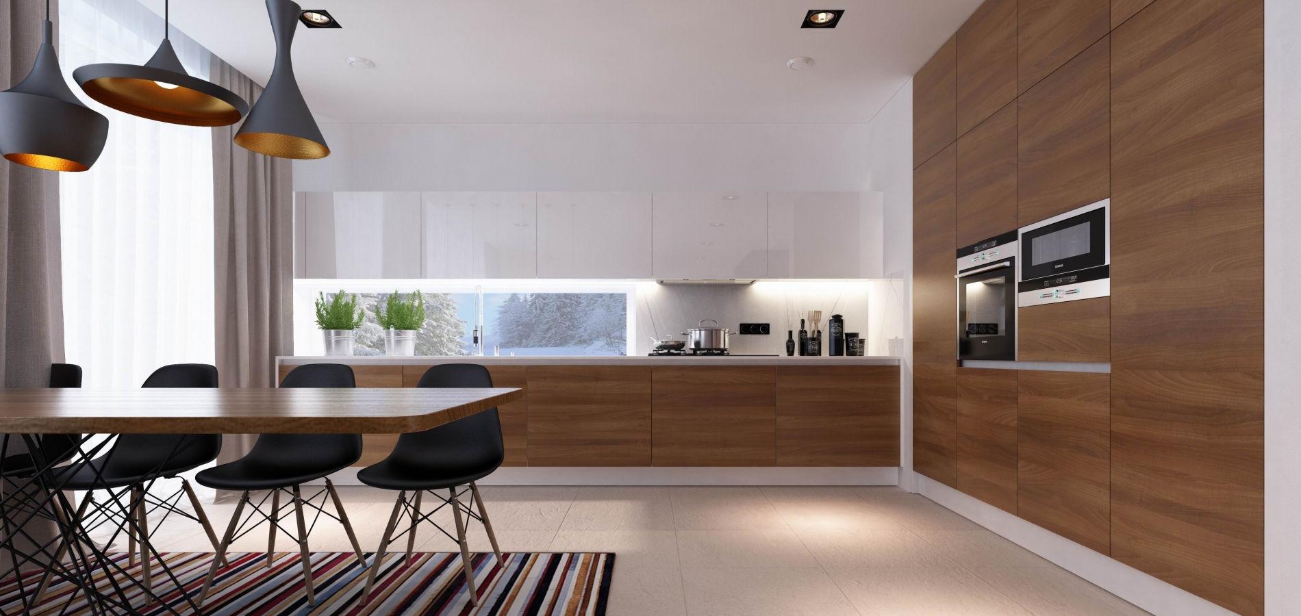 Кухня шпонована з білим глянцем H_406
