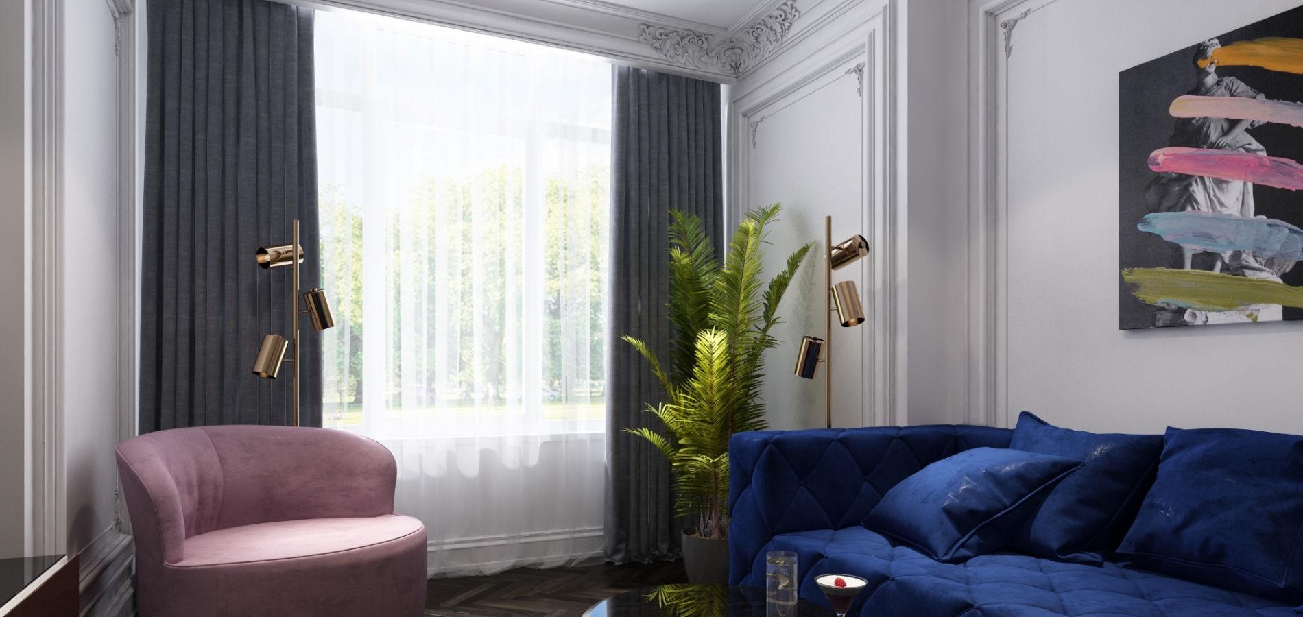 Вітальня в квартирі з синім диваном GMD_215