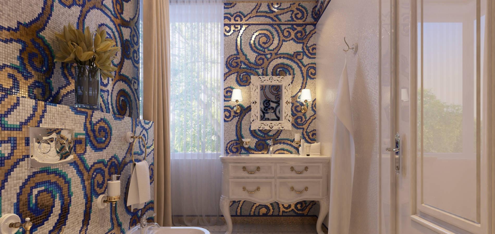 Ванна з білими меблями та геометричними орнаментами WK_104