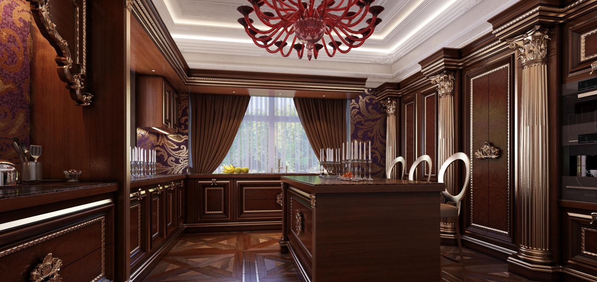 розкішна кухня з колонами в темному кольорі K_110