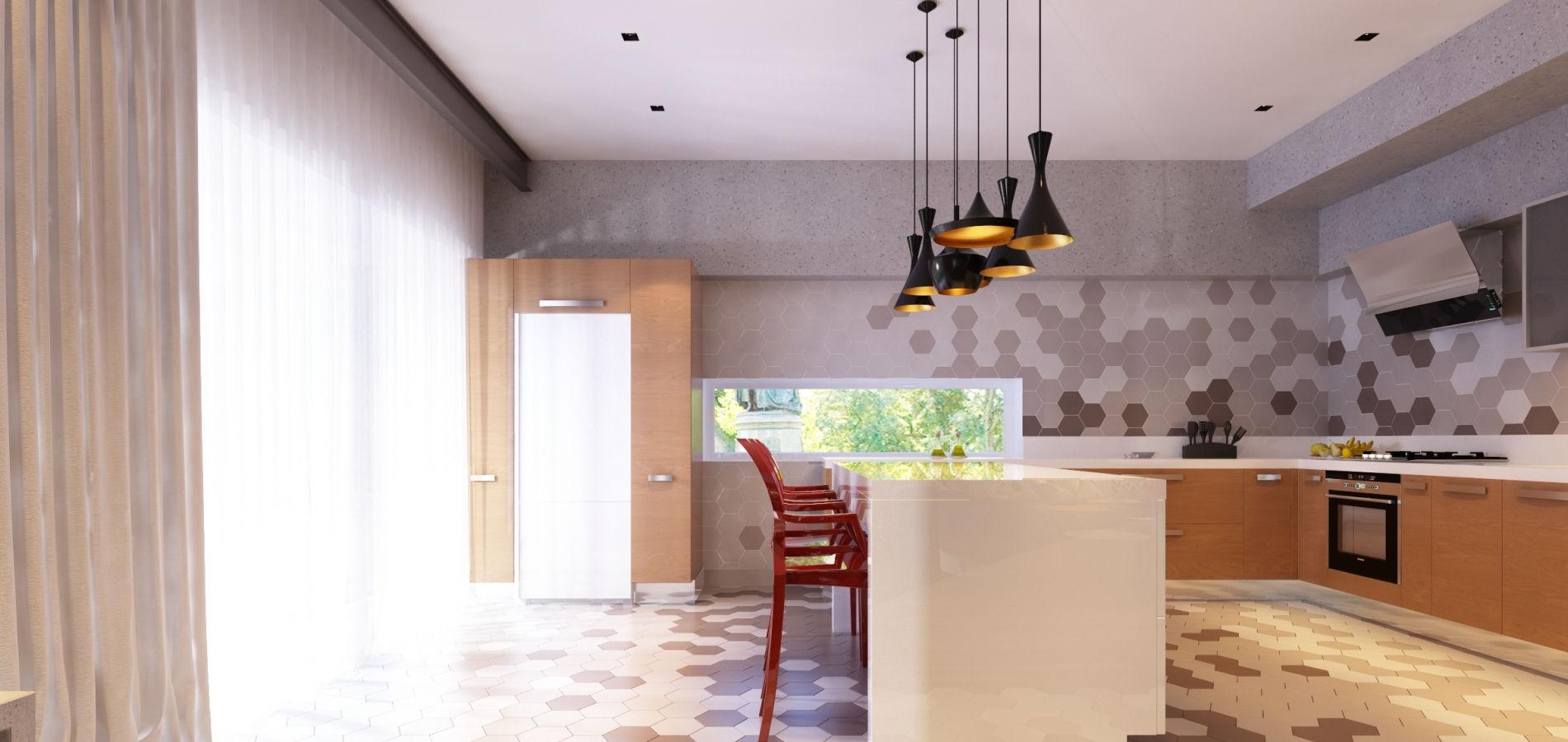 Кухня студія в сучасному дизайні H_410