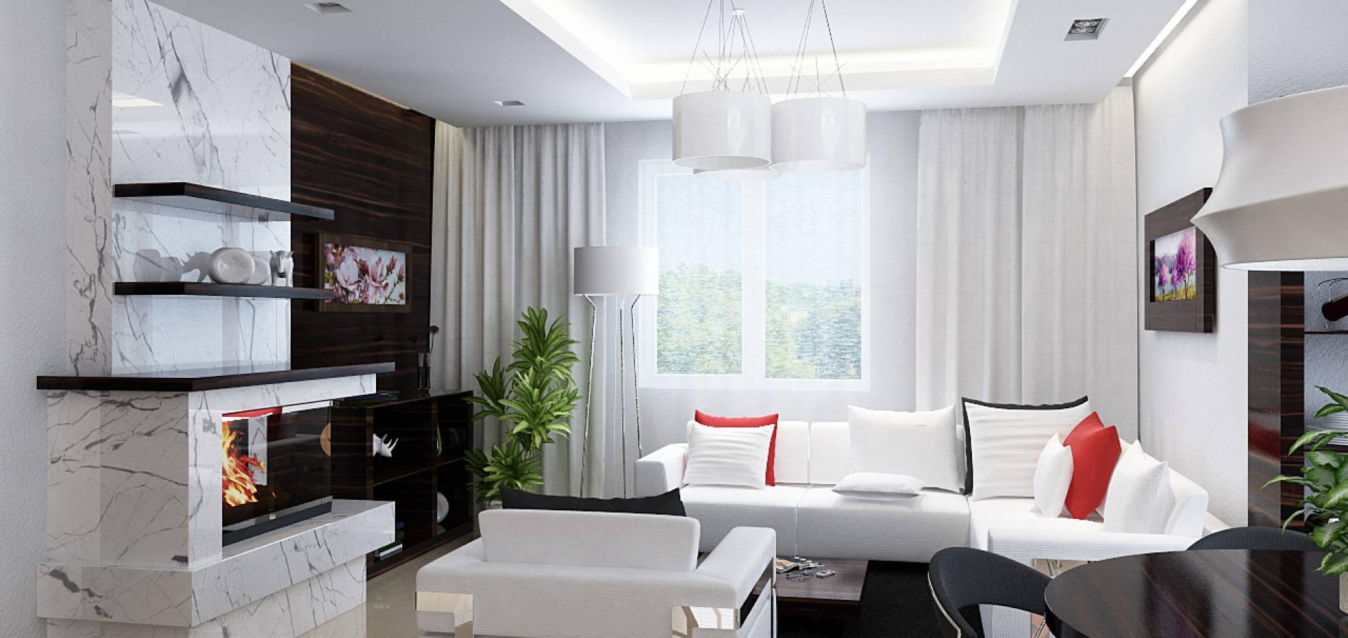 Вітальня з білими диванами і каміном GH_408