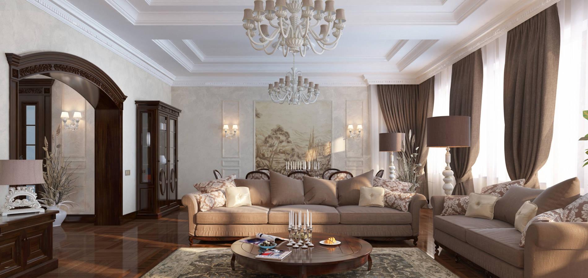 Вітальня в будинку класика з різбленням GK_103