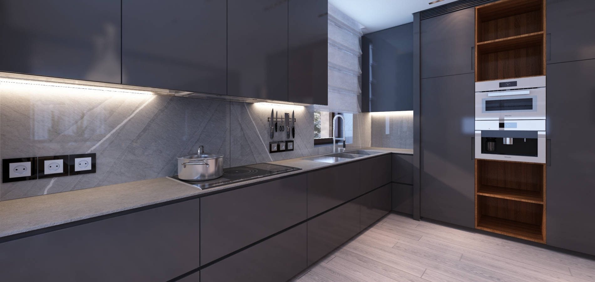 Кухня з темно-сірими фасадами H_405