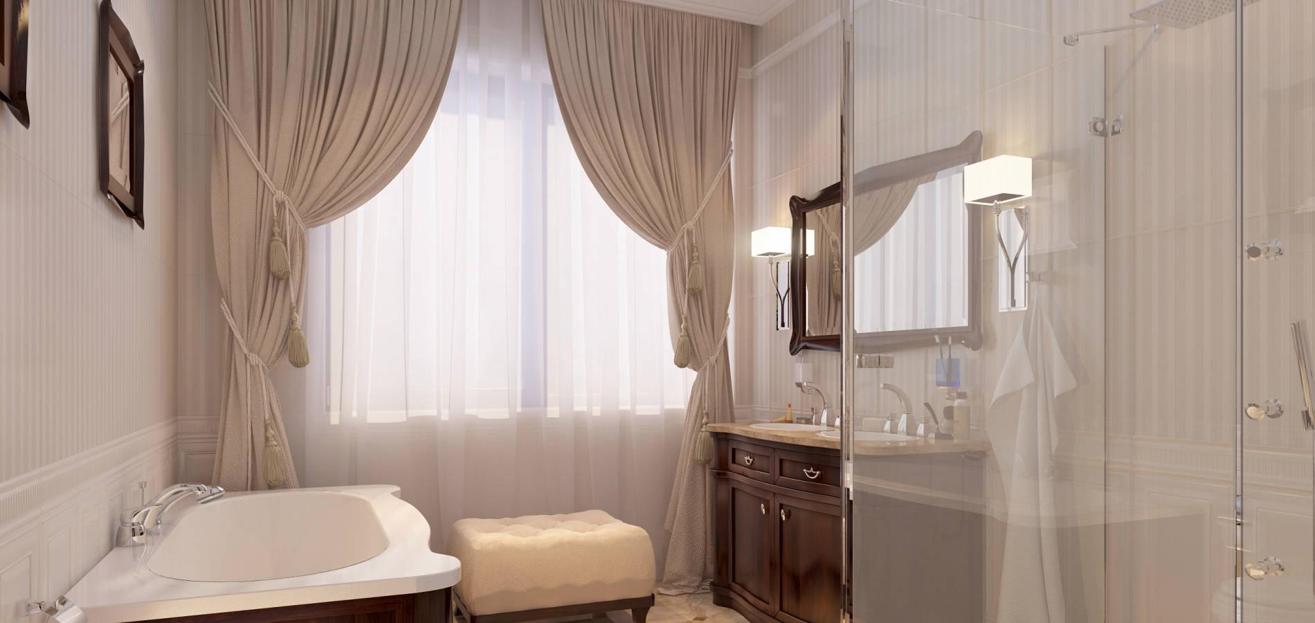 Ванна кімната з класичними дерев'яними меблями WK_108