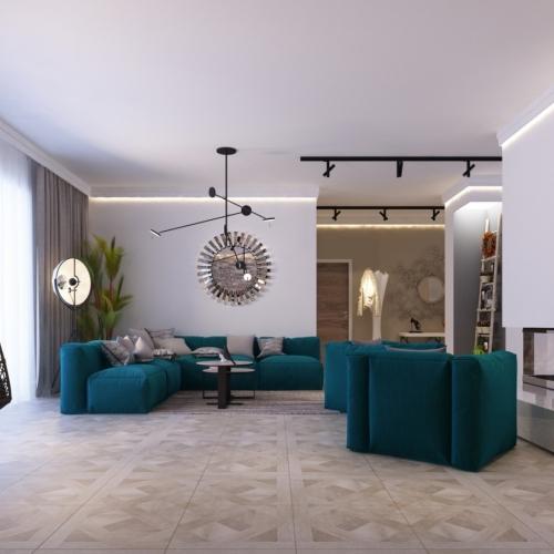 Гостиная с зелеными креслами GH_404