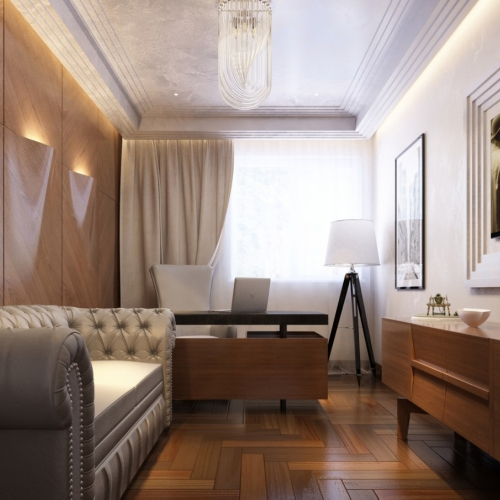 Кабинет в стиле модерн с деревянными фасадами OMD_206