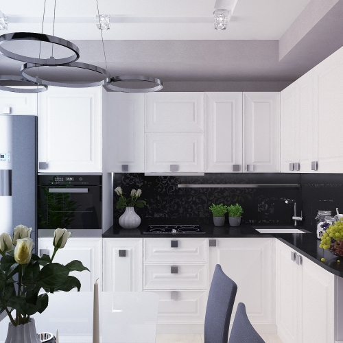 Біла кухня в стилі мінімалізм MD_207