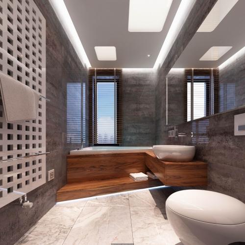 Ванная комната фасадами из дерева WH_404