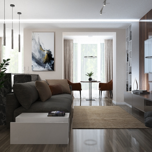 Гостиная в квартире в стиле хай тек GH_409