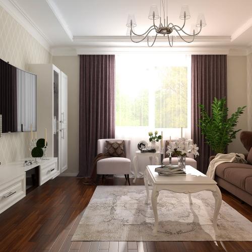 Вітальня з різними класичними меблями GK_101