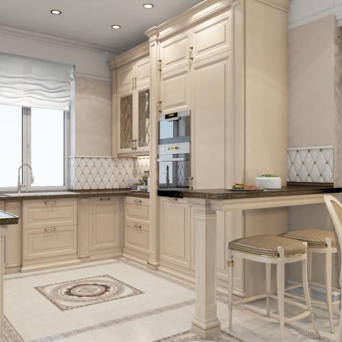 Бежева кухня в класичному стилі K_105