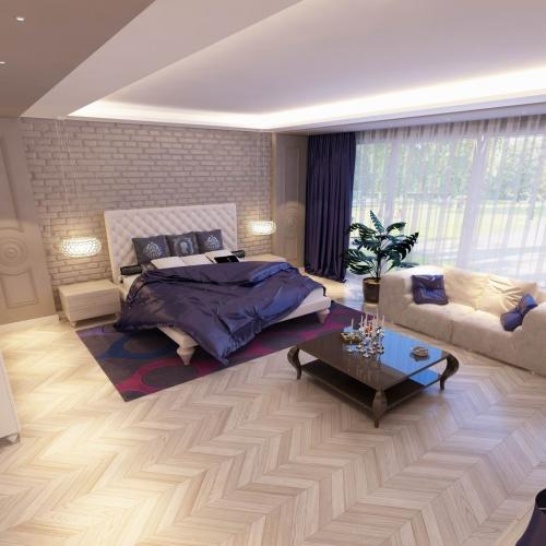 Класична спальня з шкіряним підголовником SK_107