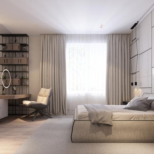 Спальня з полицями в стилі хай тек SH_401