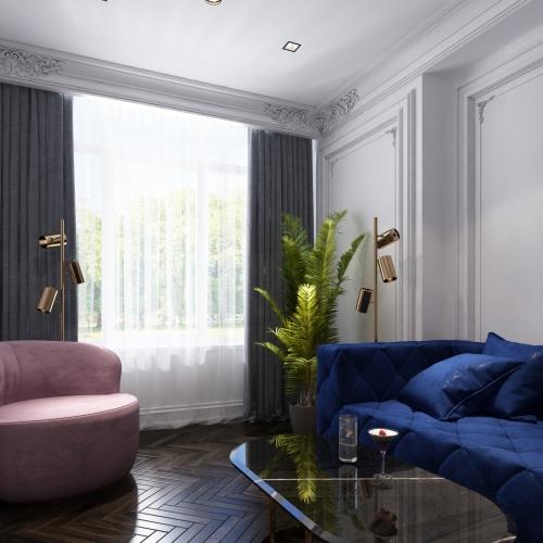 Гостиная в квартире с синим диваном GMD_215