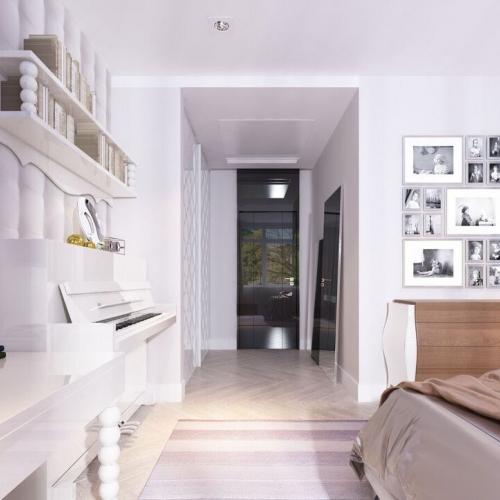 Спальня білого кольору з елементами класики SK_108
