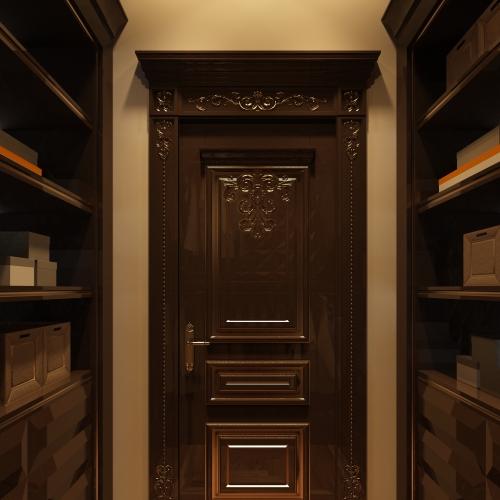 Двері класичні фільончасті темні з патіною DK_120