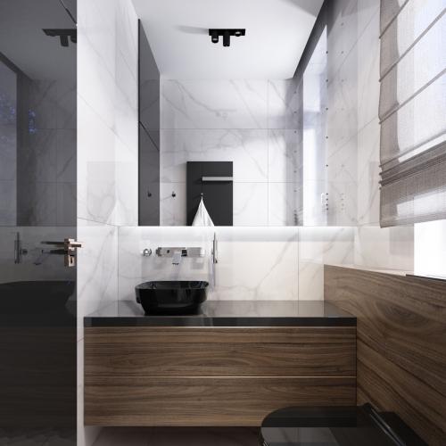 Ванна з дерев'яними фасадами меблів WMD_201