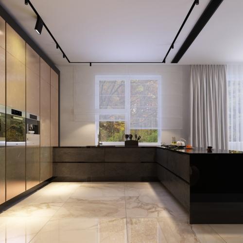 Зручна кухня-студія в глянці Н_411