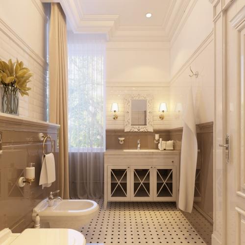 Ванна с классическими белыми мебелью WK_105
