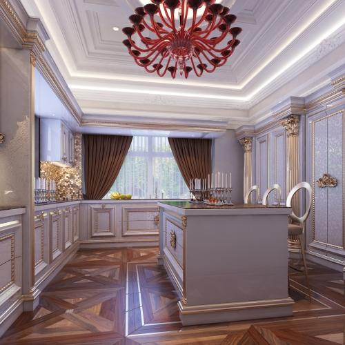 Розкішна кухня із золотими колонами K_111