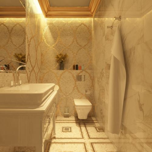 Компактная ванная комната с мозаикой WK_215