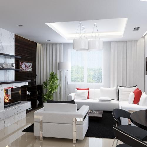 Гостиная с белыми диванами и камином GH_408