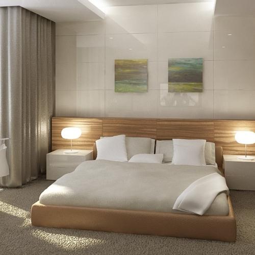 Спальня з світлими дерев'яними фасадами SH_404