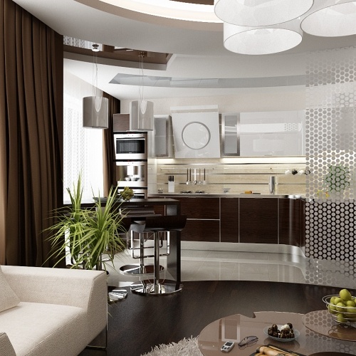 Кухня зі гнутими фасадами H_403