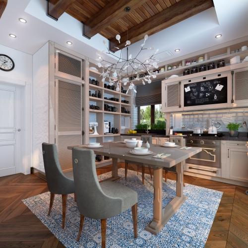 Класична кухня з дерев'яними фасадами K_103