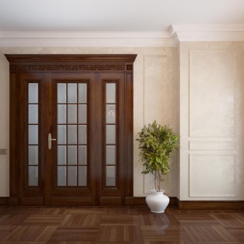 Двері класичні з фасетним вітражем DK_106