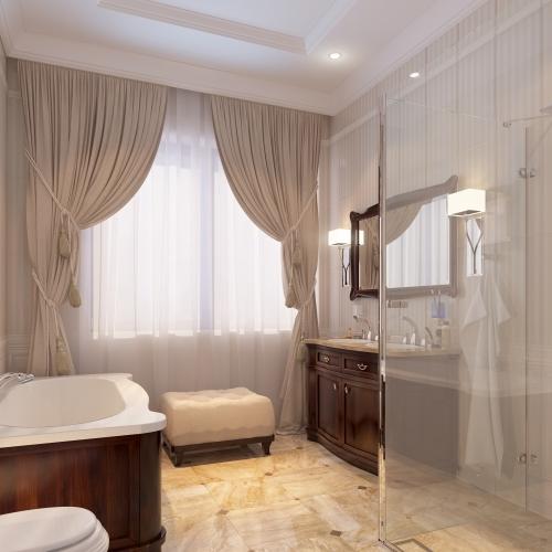 Ванная комната с классическими деревянными мебелью WK_108